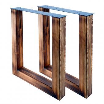 Tischgestell U 80/80 Holz geflammt