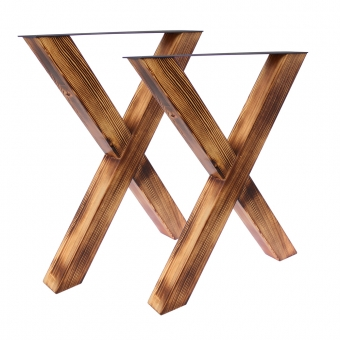 Tischgestell X 80/80 Holz geflammt